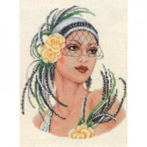 vervaco 75.076 Yellow Rose Flapper Lady