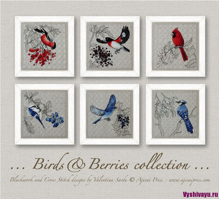 Ajisai Designs Birds & Berriers collection